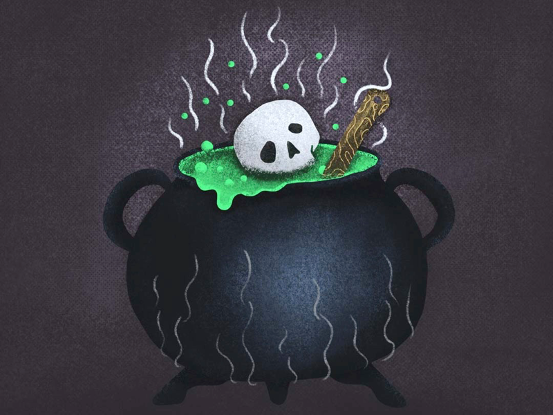 Witches Brew artwork skull draw procreate witches brew halloween