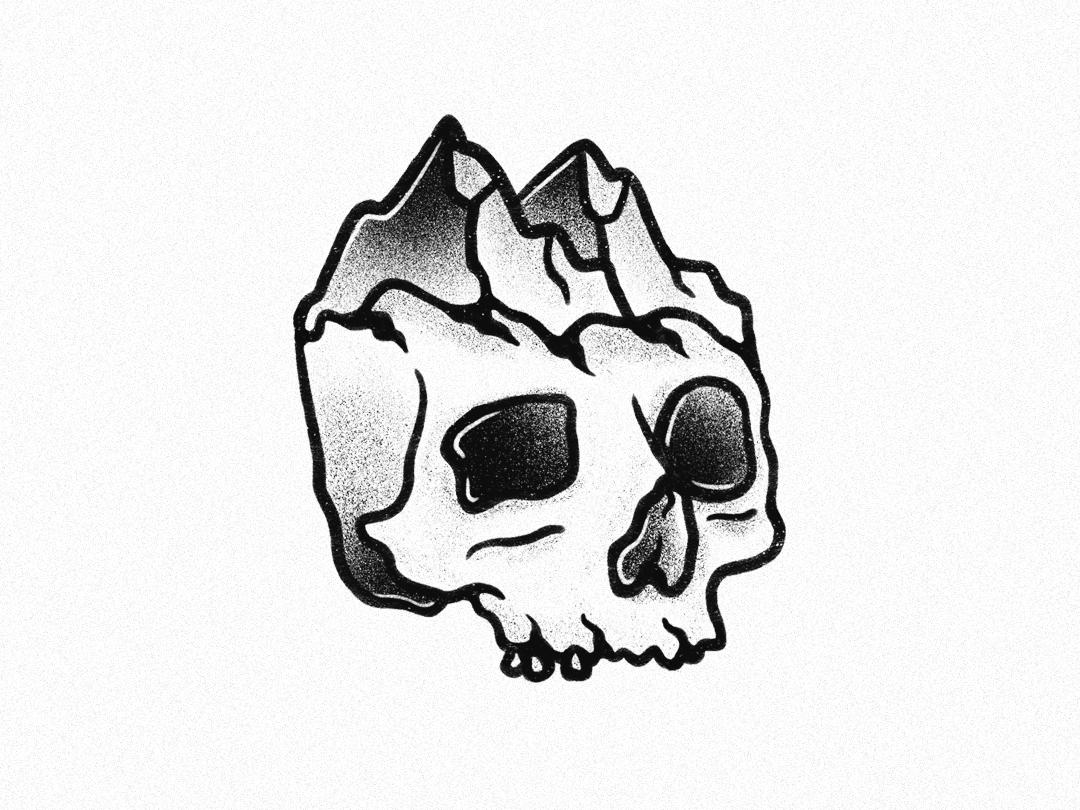Skull Mountain by Charley Pangus skull logo ipad pro procreate procreate art hand drawn mountain skulls skullart skull