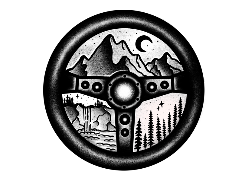 STEERING WHEEL + NATURE badge adventure travel artwork illustration mountains nature drawing procreate