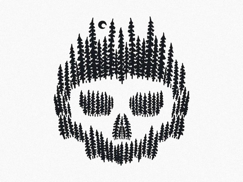 🌲+💀 handdrawn artwork drawing draw procreate ipadpro skulls skull trees