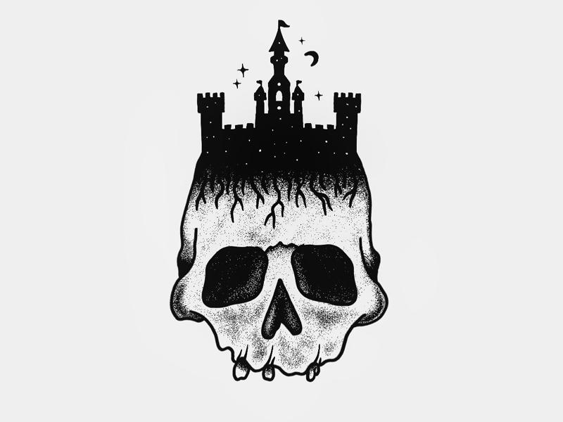Castle Skull by Charley Pangus artwork logo design illustration castle skull procreate