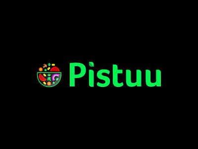 Logotype and App Icon for Pistuu vegetable veggies plants leaf app illustration veganism flat icon logo salad plant vegan