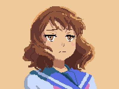 Kumiko portrait illustration pixelart
