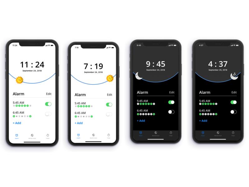 iOS Clock App ios challenge uplabs iphonex ux design ui sketch alarm clock app