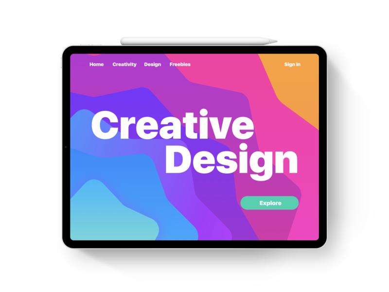 iPad Pro - Webpage illustration gradiant vibrant color colors colorful ios ipad pro minimal ui apple design webpage ipad