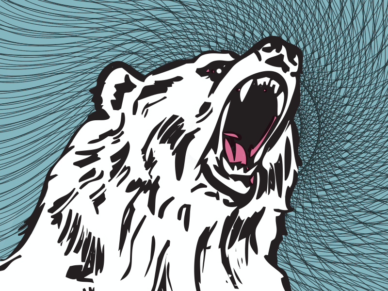 Grolar Bear pink teal geometric fangs teeth grolar bear illustration bear