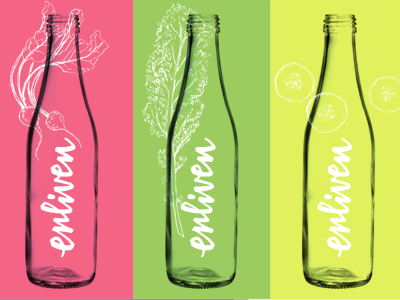 logo and package design process for Enliven fresh pressed juice