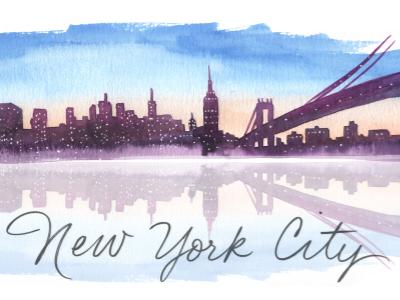 NYC skyline wip new york city nyc skyline landscape watercolor illustration illustration