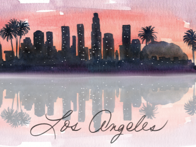 LA skyline wip los angeles la sunset skyline landscape watercolor illustration illustration