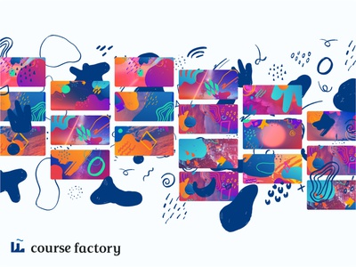 Course Factory Brand System app education branding illustration vector drawing identity design design identity illustraion color