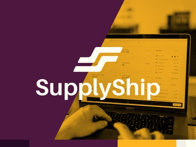 SupplyShip software mobile box shipping ux ui hero section hero image web logo design design burgundy gold icon logotype logo brand ecommerce