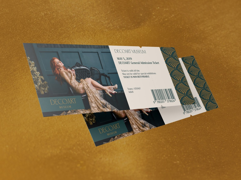 Decoart 05 gold print logo mark logo typography brand identity identity design identity design branding art deco museum of art museums tickets museum ticket