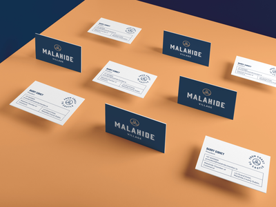 Malahide Village Business Cards mockup gold typography logo branding identity business card