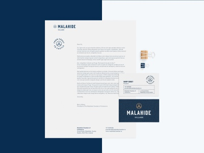 Malahide Village Stationery Set typography badge icon logo design mockup business card letterhead identity branding