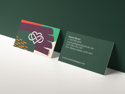 Crossraods Agapé Business Cards green logo design logo logo mark typography identity design identity branding mockup print business card