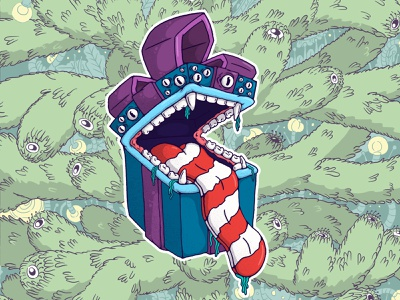 New Year's ravenous gift new year scary character design character christmas monster design illustration