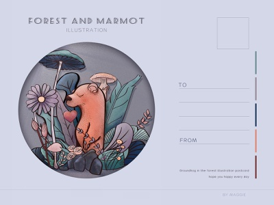 postercard of plant and marmot flat vector design illustration
