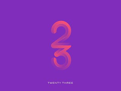 Twenty Three simple creativeninja dribbble gradient illustrator logo numbers