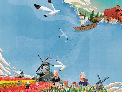 netherlands map netherlands editorial design magazize editorial illustration birds summer character design taiwan art illustration