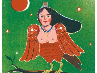 Sirin russian slavic sirin folklore birds character design taiwan art illustration
