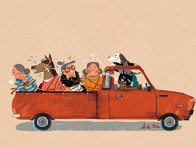 One penny, one grandma woman animal cat art dog pickup truck car postcards editorial illustration character art artwork illustration
