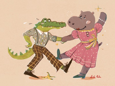 Aligator's tear digital graphic aligator hippo postcardproject character illustration