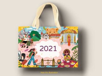 2021 graphicdesign paper bag travel character art artwork illustration