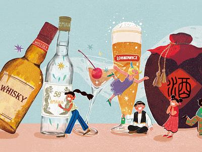 happy beer and wine day! wine beer art character branding brand illustration