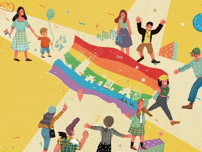 Gender equality taipei gender equality character editorial illustration taiwan illustration