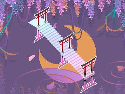 Wisteria flowers and moon illustration