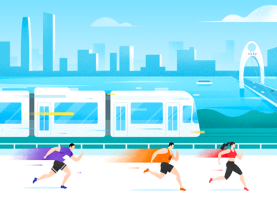 Guangzhou Trams building river guangzhou city traffic trams train speed runner people simple sport run china drawing ui illustration design