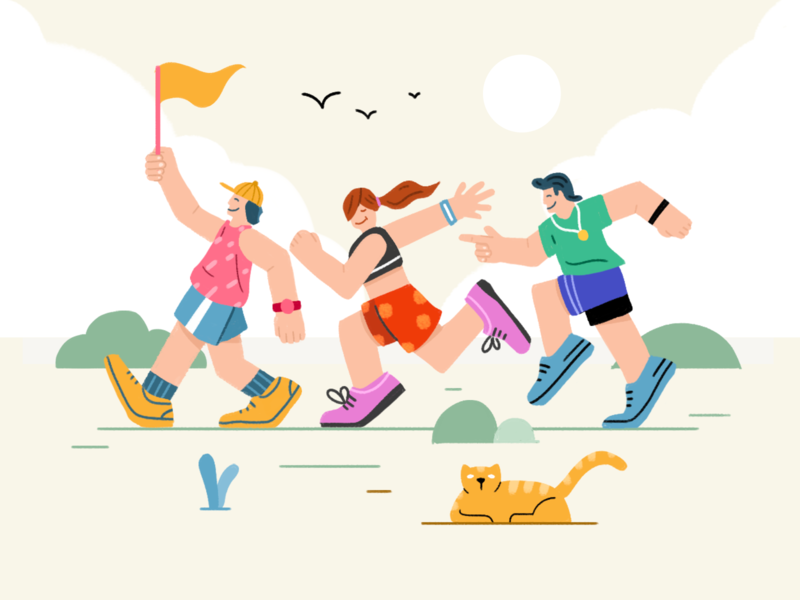 Run Toghter design people runner sport vector run drawing ui illustration