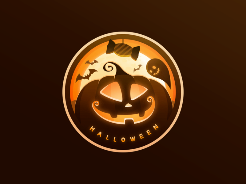 Happy Halloween ghost bat pumpkin art logo festival halloween medal icon ui illustration design