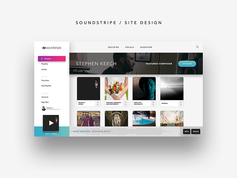 Soundstripe website ux design ui design site design music licensing soundstripe