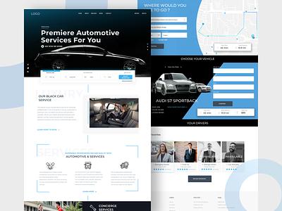 Automotive Service Web Page ux web page car ride share clean web design ux web ui design