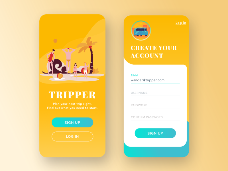 Trip App-Mobile Sign Up uxdesign ux uidesign ui signup mobileapp mobile interface illustration design dailyui cleanui clean app