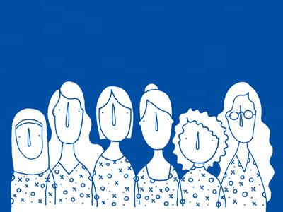 Strong Women pattern blue women portraits