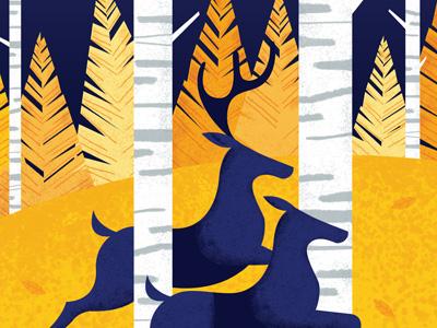 Gig poster crop trees birch woods antlers deer