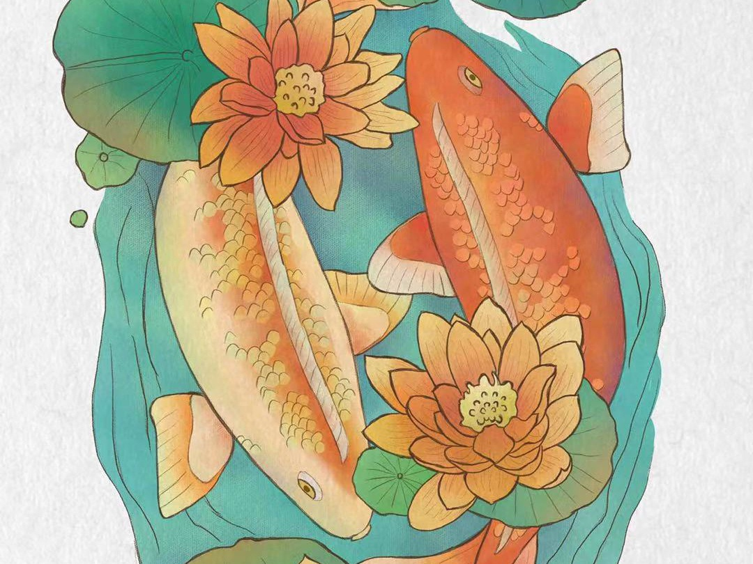 Pisces illustration green red china fish