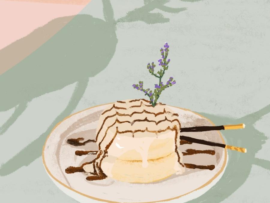 cake food pink gree yellow cake