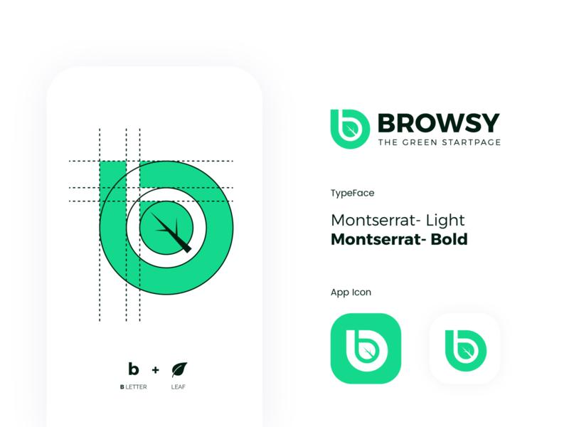 Browsy Logo icon negativespace clean smart unique circle grid goldenratio process leaf outstanding flat modern minimal logo illustration design custom creative amazing