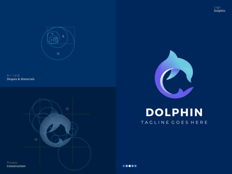 Dolphin Logo best eye catching elegant professional process circle grid golden ratio fish dolphin unique outstanding flat modern minimal logo illustration design custom creative amazing