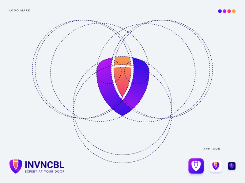 Mr. Invincible Logo icon geometic circle grid process golden ratio colorful shield professional outstanding flat modern minimal logo illustration design custom creative amazing