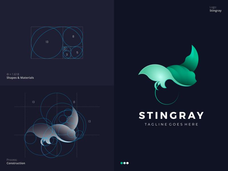 Stingray Logo smart geometric circle grid golden ratio process colorful unique fish stingray professional outstanding modern minimal logo illustration design custom creative amazing