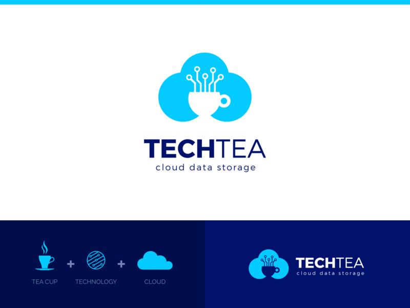TechTea Logo clever unique best beautiful elegant storage cloud cup tea technology minimal modern outstanding professional logo illustration design custom creative amazing
