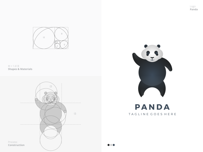 Panda Logo shot best unique popular famous circle grid process golden ratio animal panda flat outstanding modern minimal logo illustration design custom creative amazing