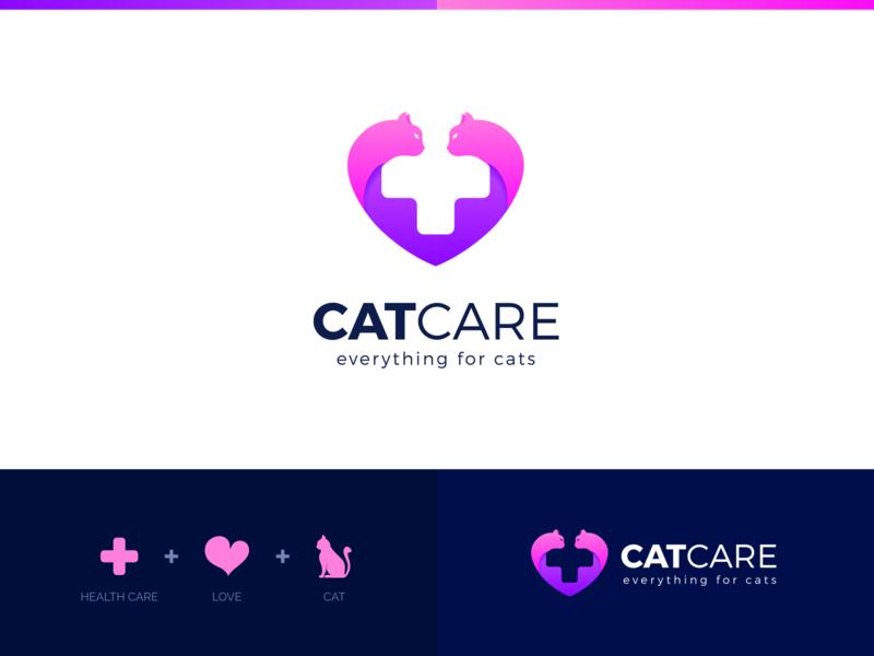 CatCare Logo best icon clever popular colorful love healthcare care cat professional flat outstanding modern minimal logo illustration design custom creative amazing