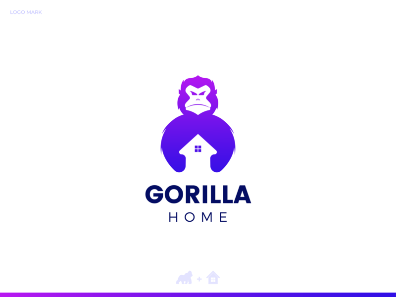 GorillaHome Logo best popular elegant eye catching unique negativespace home gorilla colorful professional flat outstanding logo illustration design modern minimal custom creative amazing