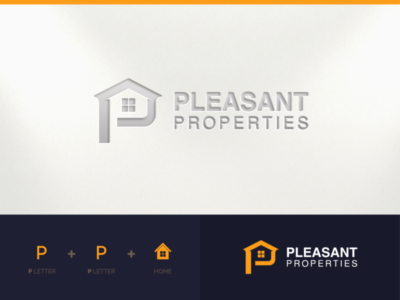 PP Home  Logo negativespace clean elegant popular famous house real estate home professional flat logo outstanding illustration design modern minimal custom creative amazing