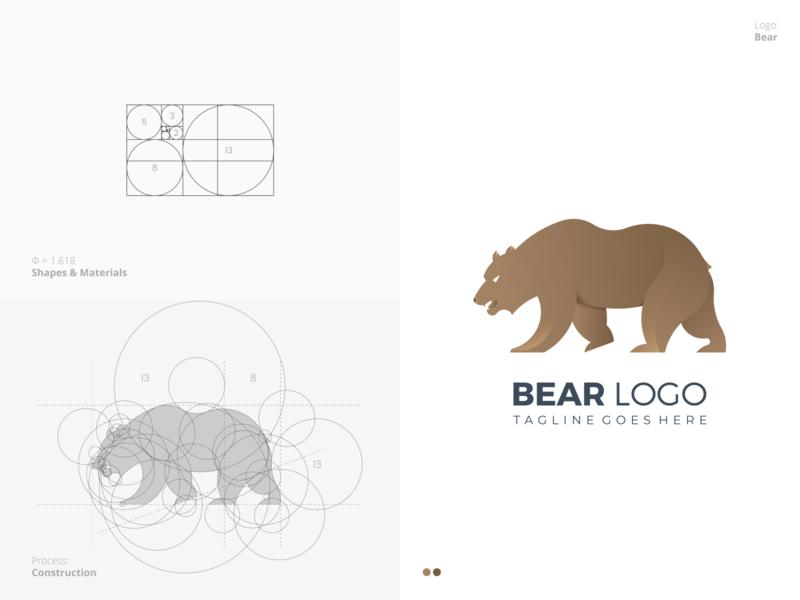Bear Logo unique best smart geometric process grid golden ratio animal bear professional flat outstanding logo illustration design modern minimal custom creative amazing
